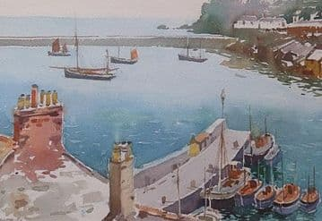 Arthur Royce Bradbury Original Watercolour Painting Harbour Scene