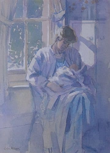 Colin Allbrook Original Watercolour Painting The Baby (Mother And Child)