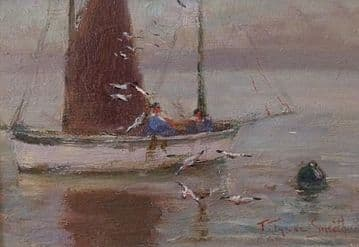 Frances Tysoe Smith Original Oil Painting The Lone Boat