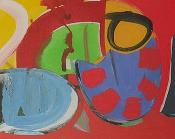 Martin Lanyon Original Gouache Abstract Painting Titled Playground