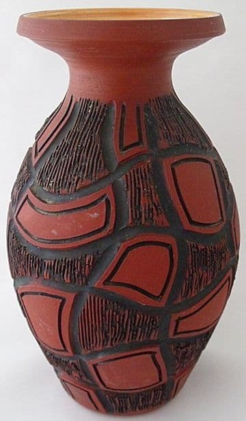 Poole Pottery Atlantis Carved Vase By Catherine Connett