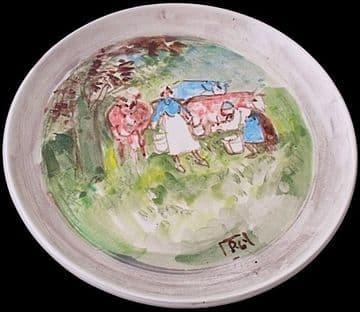Reg Gammon Blagdon Studio Pottery Plate Dish Milking The Cows