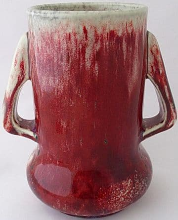 Ruskin Pottery High Fired Sang De Boeuf Twin Handled Vase