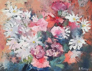 Simon Pooley Still Life Floral Oil Painting Chrysanthemums Flowers