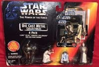 Star Wars Power of the Force: Die Cast Metal Collectibles 4-Pack - Sealed on Card