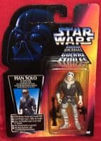 Star Wars Power of the Force: Han Solo in Hoth Gear - Red Card/Tri-Logo - Sealed on Card