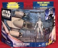 Star Wars The Clone Wars: Freeco Speeder with Clone Trooper - Complete Boxed Vehicle & Figure