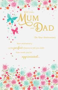 Butterfly Mum and Dad Anniversary Card