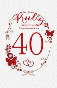 Butterfly Ruby Anniversary Card