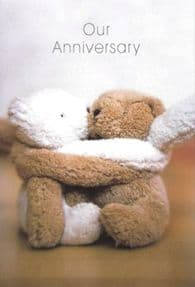 Cute Teddy Our Anniversary Greeting Card - Inseparable