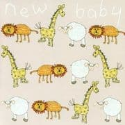 New Baby Greeting Card - Sheep, Giraffe, Lion