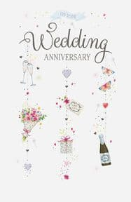 On Your Anniversary Bouquet And Champagne Card