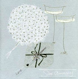 Silver Wedding Anniversary Card - These Sparkling Years