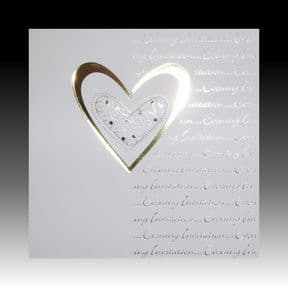 White Wedding Evening Invitations with Gold Heart