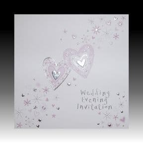 White Wedding Evening Invitations with Lilac Hearts
