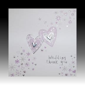 White Wedding Gift Thank You Cards with Lilac Hearts