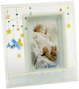 Baby Boy Painted Glass Photo Frame