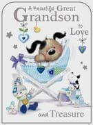 Beautiful Great Grandson New Baby Card