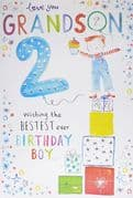 Bestest Grandson 2nd Birthday Card