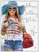 Birthday Wishes Card Girl in Hat