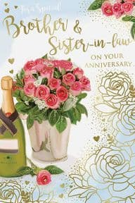 Brother & Sister in Law Flowers Wedding Anniversary Card