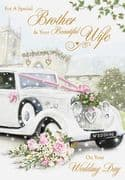 Brother & Wife Wedding Day Greeting Card