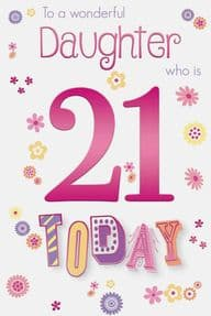 Colourful Daughter 21st Birthday Card