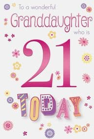 Colourful Granddaughter 21st Birthday Card