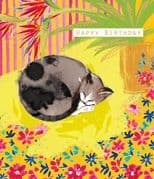 Curled up Cat Card