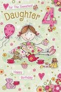 Daughter Age 4 Birthday Card