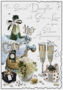 Daughter & Son in Law Silver Wedding Anniversary Card