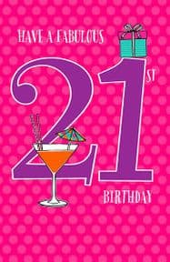 Fabulous 21st Birthday Card