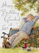 Grandad Relax on Bench Birthday Card