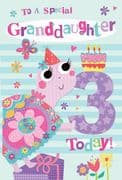 Granddaughter 3rd Birthday Card