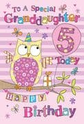 Granddaughter 5th Birthday Card