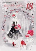 Granddaughter Floral 18th Birthday Card
