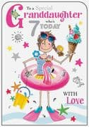 Granddaughter Ice Cream 7th Birthday Card