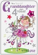 Granddaughter Unicorn 4th Birthday Card