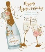 Happy Anniversary Champage Wedding Anniversary Card