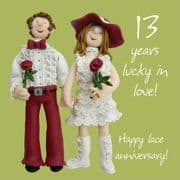 Lace 13th Wedding Anniversary Card