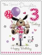 Large Daughter 3rd Birthday Fudge & Friends Card