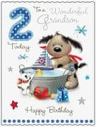 Large Grandson 2nd Birthday Fudge & Friends Card