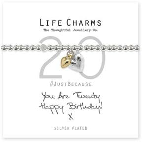 Life Charms 20th Birthday Silver Plated Bracelet