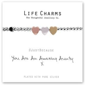 Life Charms Amazing Aunty Silver Plated Bracelet