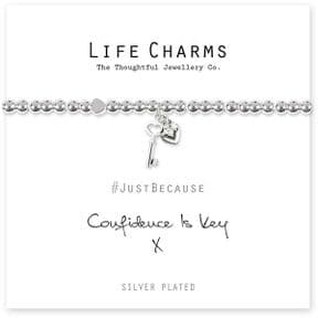 Life Charms Confidence Is Key Silver Plated Bracelet