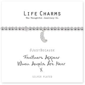 Life Charms Feathers Appear When Angels Are Near Silver Plated Bracelet