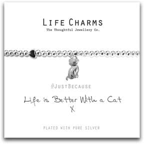 Life Charms Life Is Better With A Cat Silver Plated Bracelet
