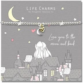 Life Charms Love You To The Moon & Back Rosey Rabbit Silver Plated Bracelet