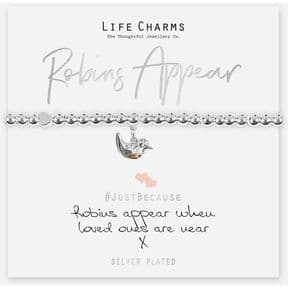 Life Charms Robins Appear When Loved Ones Are Near Silver Plated Bracelet