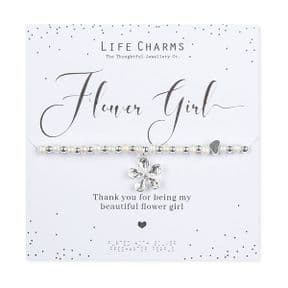 Life Charms Thank You Flower Girl Silver Plated Bracelet